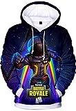 OLIPHEE Sweat-Shirt Homme avec Motif de Fortnite Sweat Hoodie 3D Imprimé Barbe XS
