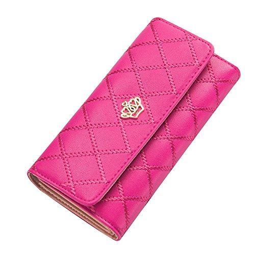 Contever® Moda Donna Signora Lungo Borsa Corona Clutch Purse Portamonete PU Pelle Cuoio Titolare Della Carta Portafoglio Pochette, Rosa Rosso Rosé