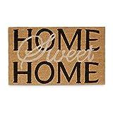 Relaxdays Fußmatte Kokos Spruch HOME SWEET HOME heller Fußabtreter mit rutschfester PVC Unterlage Matte aus Kokosfasen als Sauberlaufmatte und Läufer Türvorleger HBT: 1,5 x 75 x 45 cm, natur / braun