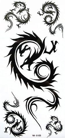 YiMei COOL imperméables tatouages temporaires dragon sexy totem élégant épaule