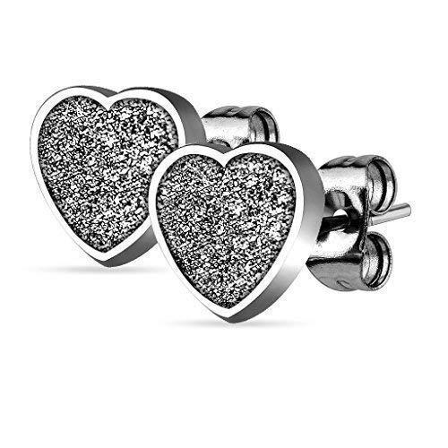 Tapsi's Coolbodyart®, orecchini da donna in acciaio chirurgico con cuore, con sabbia glitter e acciaio inossidabile, colore: argento, cod. CBASEZHT_ST