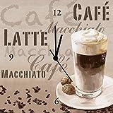 Artland Analoge Wand-Funk-oder Quarz-Uhr Digital-Druck Leinwand auf Holz-Rahmen gespannt mit Motiv Jule Kaffee - Latte Macchiato Ernährung & Genuss Getränke Kaffee Mixed Media Creme A5SZ