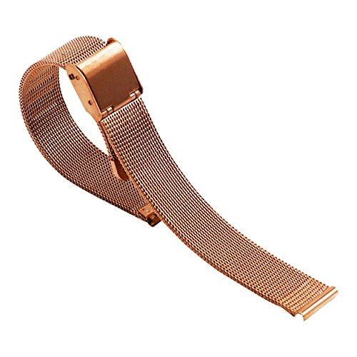 18 millimetri morbido rosa pezzi di acciaio maglia orologi in metallo...