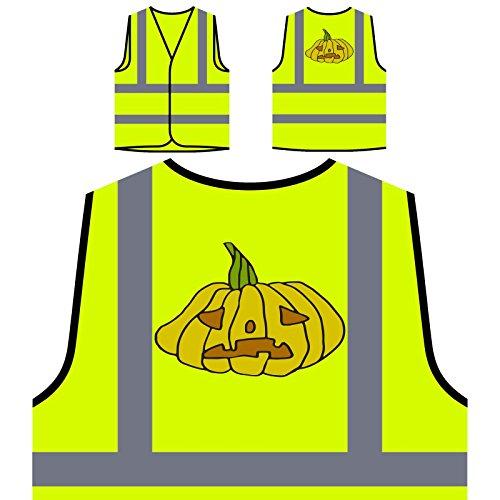 Verrückter Halloween Kürbis Personalisierte High Visibility Gelbe Sicherheitsjacke Weste q215v