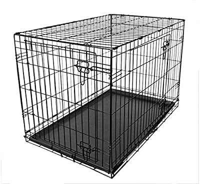 RAC Dog Puppy Cage Folding 2 Door Crate with Plastic Tray Medium 30-inch Black (Medium) from RAC