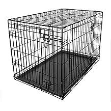 Dog Puppy Cage Folding 2 Door Crate with Plastic Tray Medium 30-inch Black (Medium)