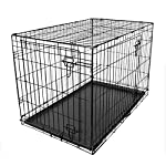 RAC Dog Puppy Cage Folding 2 Door Crate with Plastic Tray Large 36-inch Black (Large) 6