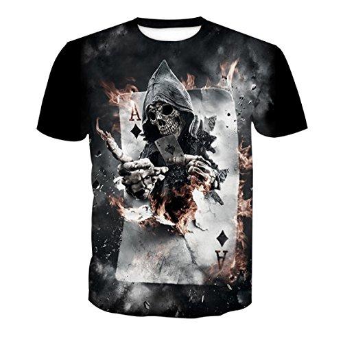 Hombres Y Mujeres Amantes Hip-Hop Suelto Gran Tamaño Estilo Callejero Blusa Estampado De Calavera Manga Corta Camiseta,PhotoColor-6XL