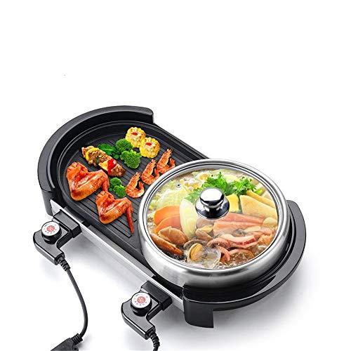 You will think of me Sie Werden an Mich Denken Grill Multi-Funktions-Elektro Smokeless Indoor-Grill Grillplatte + Chafing Dish Hot Pot Rauchfreie Grillmaschine 220V 2000W 1Pc, A