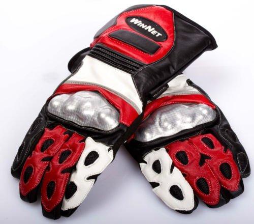 WinNet guanti da per moto in pelle con protezioni pista o strada ross