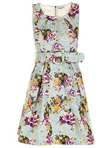 Darling Kleid Retro Vintage Stil geblümt mit Gürtel Mikayla Powder Blue