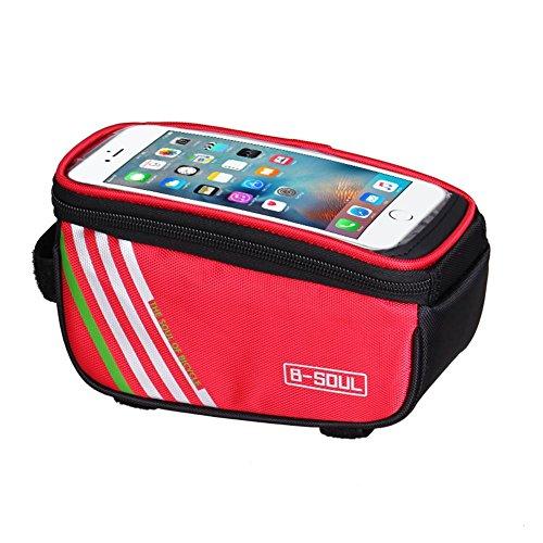 Broadroot 12,7 cm große sowie wasserdichte Fahrradtasche für Mobiltelefone, für die obere Rahmen-Strebe geeignet rot