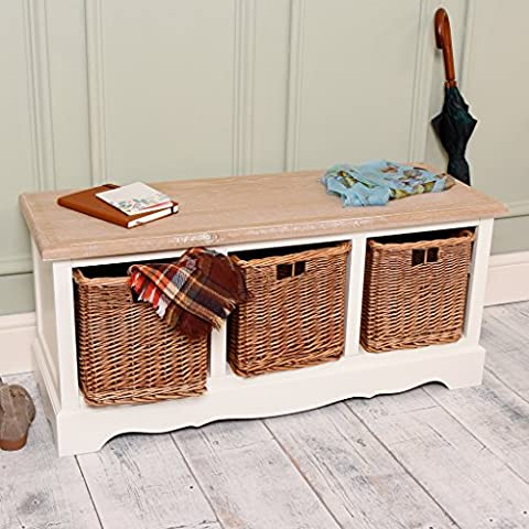 Luxury French Country Wooden Storage Bench with Three Wicker Drawers - Ideal for storing hats, coats, shoes and more in the hallway - finished in rustic white with dark rattan and pale wood countertop - perfect for a classical, farmhouse or traditional interior - W100 x D35 x