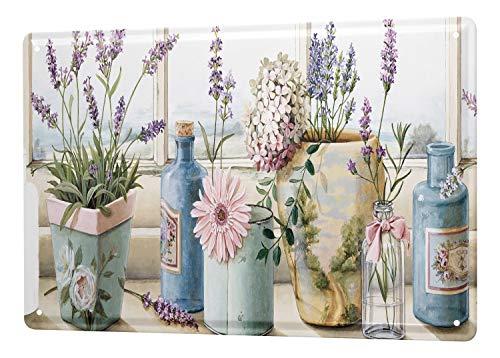 Blechschild Blumenladen Deko Lavendel Flaschen Blumenfenster Wand Metall Schild 20X30 cm -