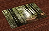 Best Green Forest Dining Tables - Lunarable Forest Place Mats Set of 4, Autumnal Review