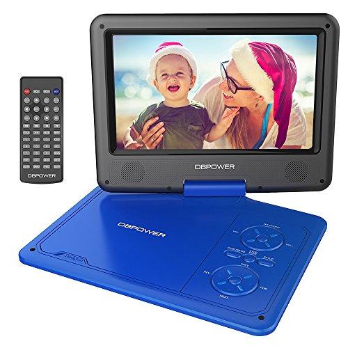 """Reproductor de DVD Portátil de 9.5"""" con Pantalla Giratoria, 5 Horas recargable incorporada de la batería, Compatible con Tarjetas SD y USB, con el cargador del coche y dispositivo de juego - Azul"""