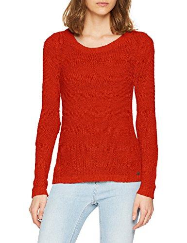 ONLY Damen onlGEENA XO L/S KNT NOOS Pullover, Rot Goji Berry, 36 (Herstellergröße: S)