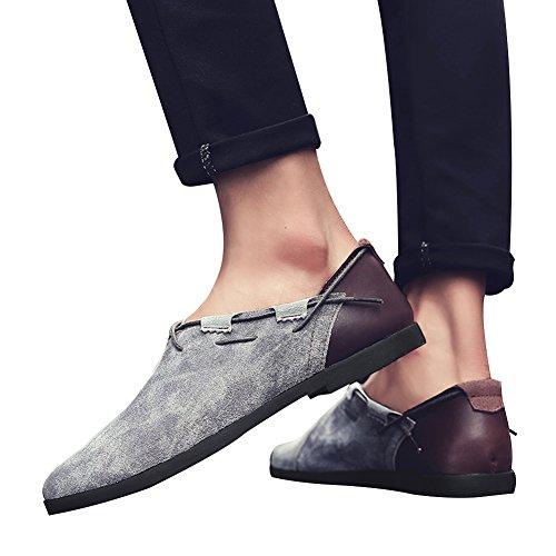 Jamron Hommes Mode Cuir de Suède Authentique Cru Conduite de Mocassins Confortable Décontractée Bas Plat Chaussure Bateau Gris