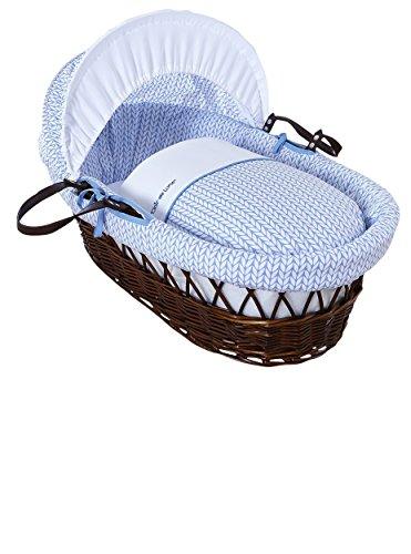 Clair de Lune Barley Bébé - Moisés de mimbre de color oscuro, diseño de cesta con ropa de cama, colchón y capucha ajustable (color azul)