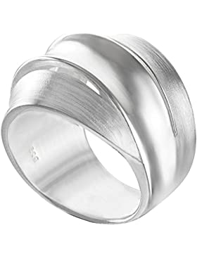 Vinani Ring breit 3 Bänder mattiert glänzend Sterling Silber 925 RDB