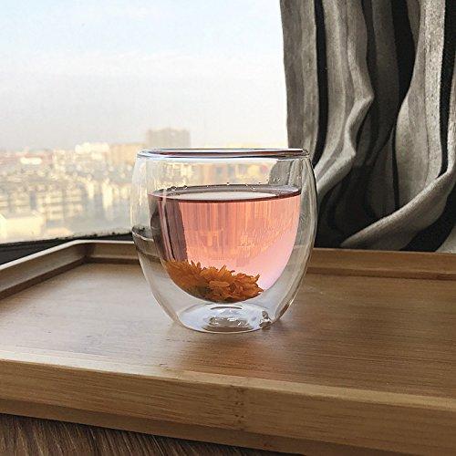 Damlonby Verre résistant à la chaleur de la couche double plateau tasse tasse tasse tasse isotherme jus transparent ,250ml (1 tasse)