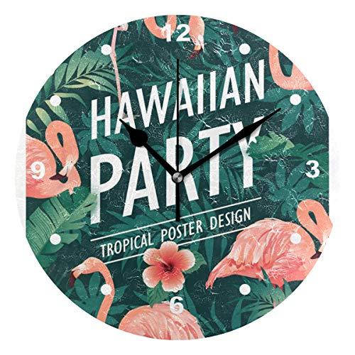 SUNOP Uhr für Kinder, mit Öl Bedruckt, 1 Hawaii-Party, Flamingos, Wanduhren für Wohnzimmer, Schlafzimmer und Küche, Vintage-Stil