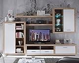 Wohnwand Anbauwand Wohnzimmerschrank 5-tlg CLAUDINE | Weiß Hochglanz | Eiche Sonoma | LED-Beleuchtung