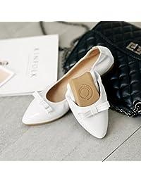 GAOLIM Embout avec une base plate, Single Chaussures Souple confortable Nœud papillon Plat Peinture avec Oeuf Rouleaux Femme Chaussures grands chiffres 41–45, The Red, 34