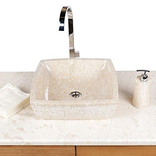 Preisvergleich Produktbild Wohnfreuden Marmor Aufsatz-Waschbecken Waschtisch Naturstein eckig 40 cm creme hell Stein Handwaschbecken