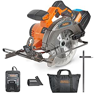 """VonHaus Cordless Circular Saw with 3.0Ah Li-ion 20V MAX Battery, Charger, 1 x 165mm / 6 ½"""" TCT Tip Blade & Power Tool Bag - Includes Ergonomic Rubber Grip & Variable Cutting Angle/Depth"""