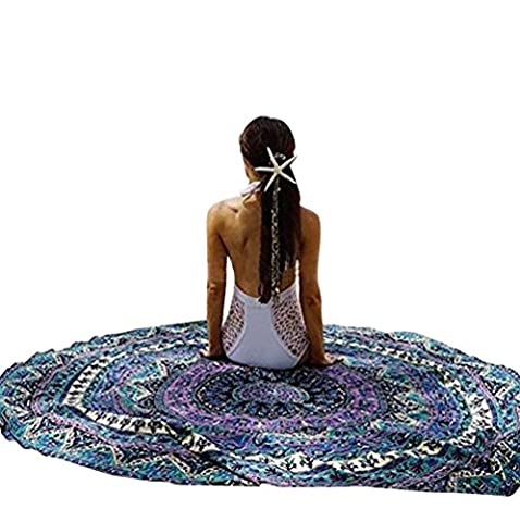LvRao Tapestry Round Beach Mat Hippy Style Wall Rugs Peacock Roundie Hanging Tapestries Purple