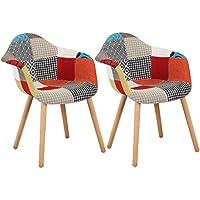 WOLTU® BH37mf-2 Chaises Salle à Manger Lot de 2 en Lin,Chaise de Cuisine avec Dossier en Bois,Multicolore