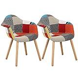 WOLTU® BH37mf-2 Esszimmerstühle 2er Set Esszimmerstuhl mit Lehne Design Stuhl Küchenstuhl Holz