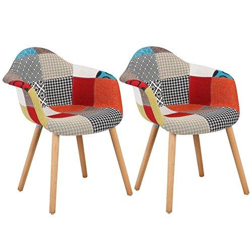 Woltu bh37mf-2 sedia da pranzo poltroncina per soggiorno sala cucina ristorante sgabello poltrona con schienale braccioli tessuto di lino gambe di faggio moderno comodo patchwork 2 pezzi