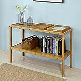 SoBuy® Tabla de consola, armario del pasillo, aparador bambú, mesa auxiliar, con 2 bandejas, FSB11-N,ES