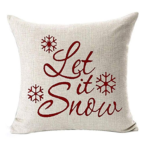 Federa Cuscino Con Scritta.Sodial R Federa Per Cuscino Con Scritta Let It Snow E Fiocchi Di Neve Natalizia Per Casa Ufficio Soggiorno Decorazione Quadrata Da 45 7 X