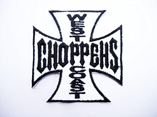 Patches-West Coast Choppers-White-Biker-Rocker-Chopper-Vest-Iron Man Patch-Wandleuchte Embroidery Wappen bestickt kostüm cadeau- Give Away