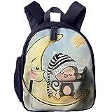 Lovely Schoolbag Cute Monkey Double Zipper Waterproof Children Schoolbag Backpacks with Front Pockets for Teens Boy Girl