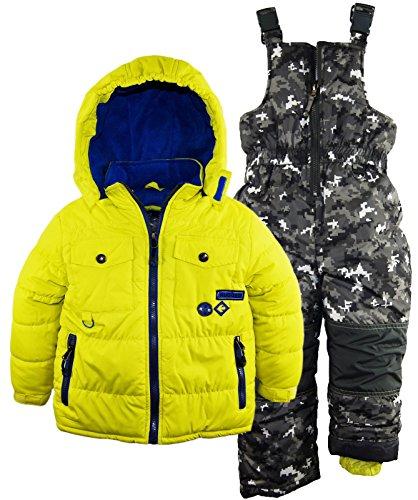 Rugged Bear Baby Jungen (0-24 Monate) Daunenjacke Schneeanzug, Paisley Gr. 86, Gelb - Acid