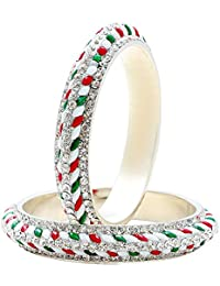 Dzinetrendz Colourful Red, Geen, White Enamel Kada, With Austrian Diamonds, In Brass For Women