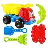 Seciie 5er Set Sandspielzeug, Sandspielset Kinder Sandspielzeug Sommer Strand-Werkzeuge Set mit Diverse Förmchen für Kinder ab 2 Jahre
