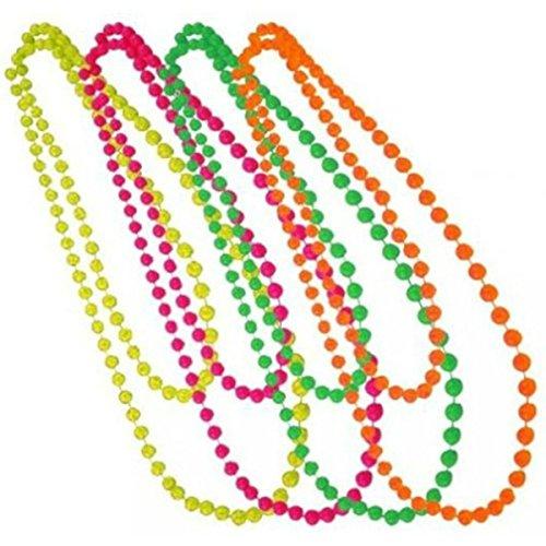 Tinksky Perlen-Halskette im Stil der 1970er und 1980er Jahre, 6 Farben, 6 - Mardi Gras Kostüm Accessoires