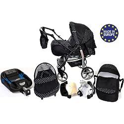 Baby Sportive–Sistema de viaje 3en 1con cuna, sillita de bebé, cochecito y accesorios coche (negro/lunares blancos)