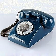 Azul oscuro de teléfono antiguo retro europeo vieja Europa rural y los Estados Unidos de habitación pueblo vivo Dormitorio Planes telefonía residencial.