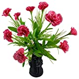 Thefancymart Artificial Carnation Flowers With Artistic Black Pot Style Code - FP-223