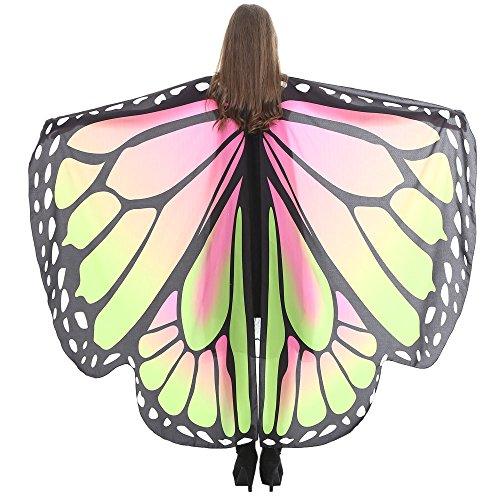 iYmitz Karneval Mode Damen Schmetterlingsflügel Schals Nymphe Pixie Poncho Feenhafte Kostüm Zubehör Pashmina Kostümzubehör(Grün N,Free Size)