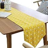 Meiosuns Chemins de Table Rectangulaire Nappes Coton et Lin Nappe en Sergé Simple Style Résistance à la Chaleur et à l'humidité (30 * 180, Jaune)