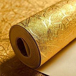 Lámina decorativa de tipo mosaico impermeable, color dorado, en rollo de papel para decorar techos, cuartos de hotel, etc, de 0,53 x 10 m, 5,3 m², de KeTian