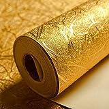 KeTian luxuriöse Tapete mit Goldfolie, modernes Design, dick, wasserdicht, zur Wanddekoration, Papierrolle / für Hotels / Deckenleuchte / Deko / Bar, goldfarbene Tapetenrolle, 0,53x10m = 5,3m²