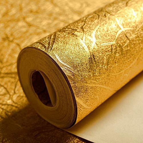 Gold-farb-bildschirm (KeTian luxuriöse Tapete mit Goldfolie, modernes Design, dick, wasserdicht, zur Wanddekoration, Papierrolle / für Hotels / Deckenleuchte / Deko / Bar, goldfarbene Tapetenrolle, 0,53 x 10 m = 5,3 m²)